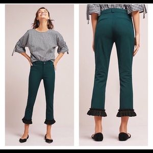 Anthropologie Cartonnier Ruffle Cropped Pants